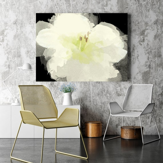 "White Flower. Floral Painting, White Abstract Art, Wall Decor Large Abstract Colorful Contemporary Canvas Art Print up to 72"" by Irena Orlov"