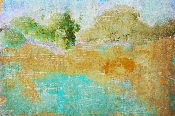 "Symphony of Light. Huge Rustic Landscape Painting Canvas Art Print, Extra Large Blue Green Orange Canvas Art Print up to 80"" by Irena Orlov"