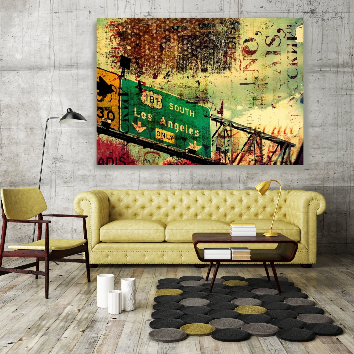 ORL-2233 101 South. Large Cityscape Canvas Art, Los Angeles Wall Art ...