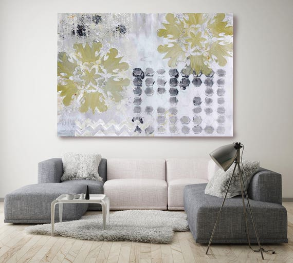 """Morning Fog. Gray Green Abstract Canvas Art, Extra Large Abstract Colorful Contemporary Canvas Art Print up to 72"""" by Irena Orlov"""