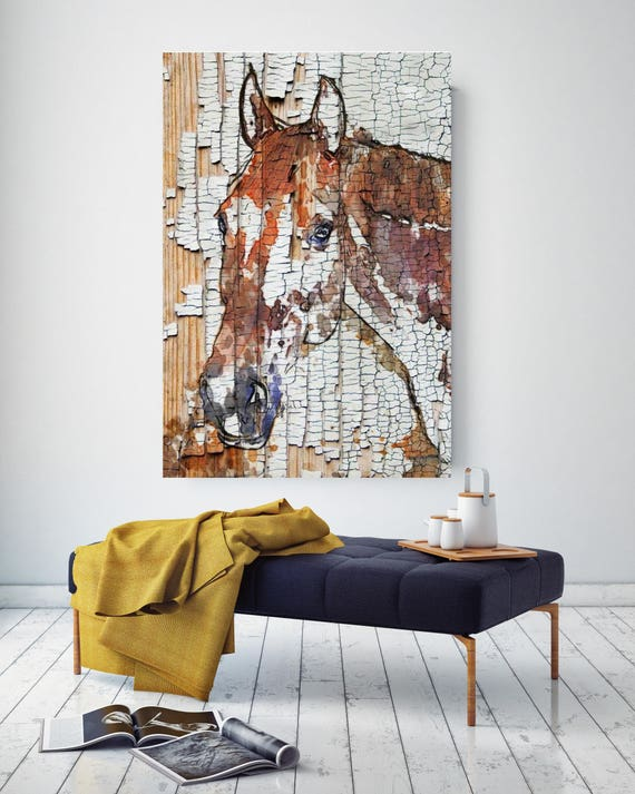 "ON SALE The Observer. Extra Large Horse, Horse Wall Decor, Brown Rustic Horse, Large Contemporary Canvas Art Print up to 72"" by Irena Orlov"