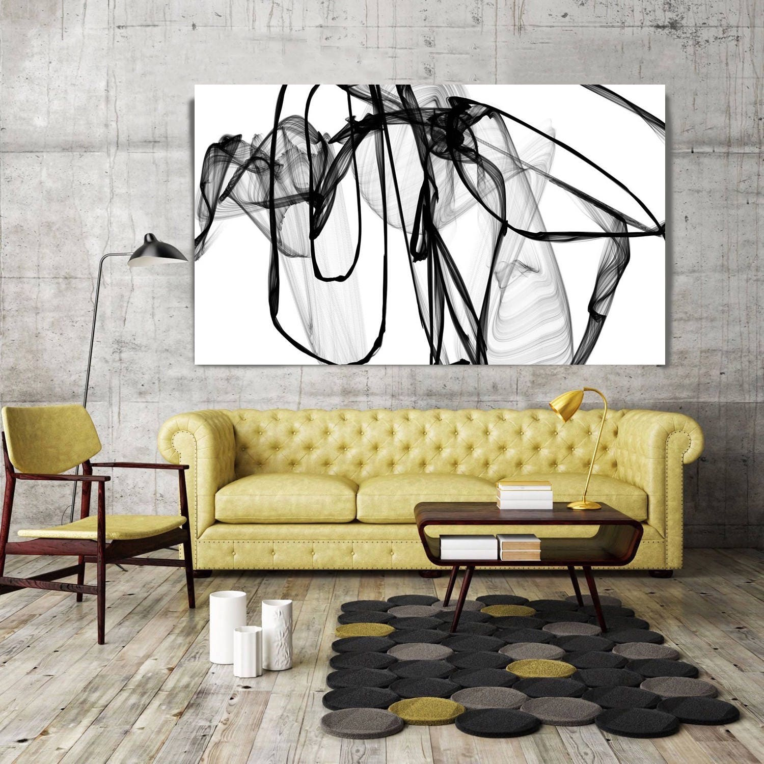 Abstract Expressionism in Black And White 17, Contemporary Abstract ...