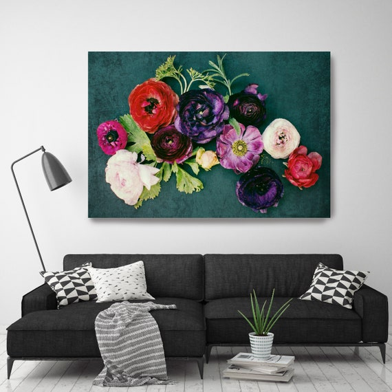 Floral Sparkle 18. Green Red Floral Painting, blossom canvas art print, blossoming painting, floral painting, blossoming wall decor, floral