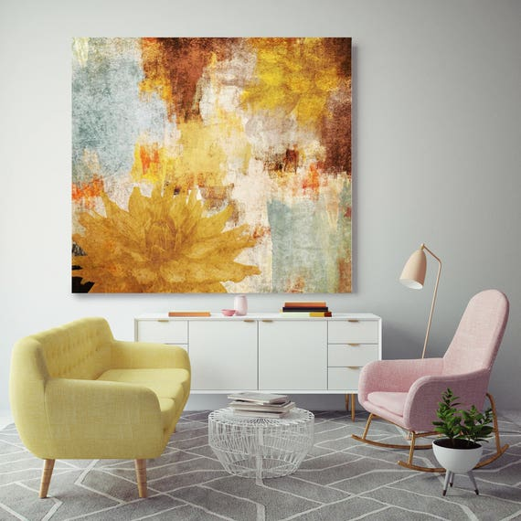 "Enchanted Evening. Floral Rustic Canvas Art Print up to 48"", Floral Oversized Canvas Art Print, Yellow Floral Canvas Print by Irena Orlov"
