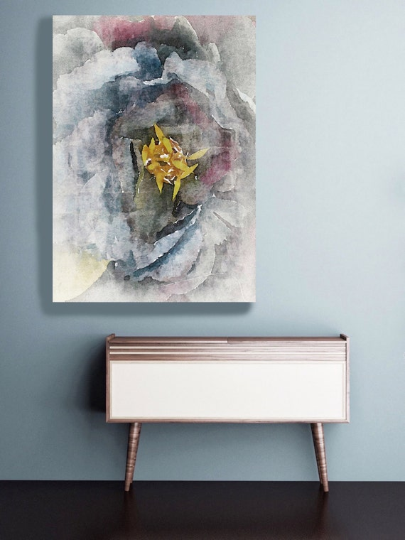 """Rustic Floral. Floral Painting, Gray Abstract Art, Wall Decor Large Abstract Colorful Contemporary Canvas Art Print up to 72"""" by Irena Orlov"""