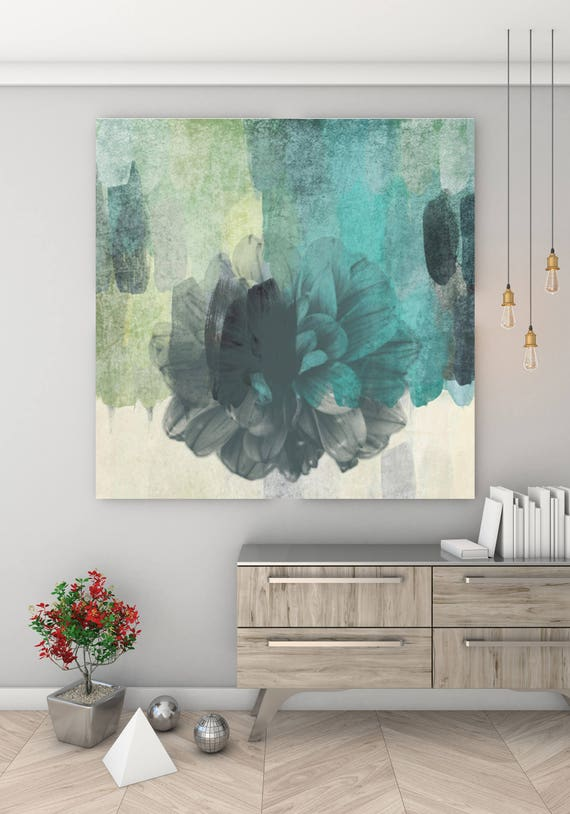 "Floral Beauty, Green Rustic Abstract Floral Canvas Art Print, Gray Teal Extra Large  Canvas Art Print up to 48"" by Irena Orlov"