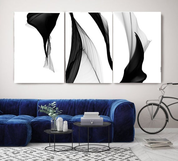 Black and White Flow Contemporary TRIPTYCH canvas art prints-3 panels Stretched Canvas Wall Art, Canvas Art Print, Abstract Black Wall Decor