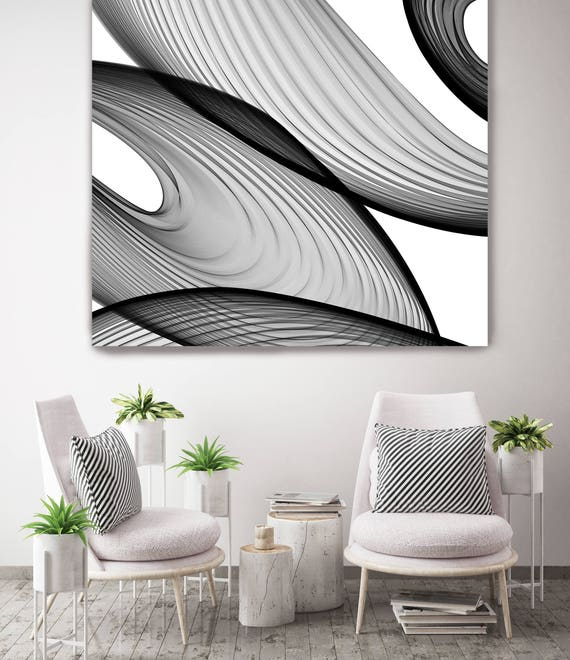 "ORL-6043 Abstract Black and White 21-43-56. New Media Abstract Black and White Canvas Art Print, Canvas Art Print up to 50"" by Irena Orlov"