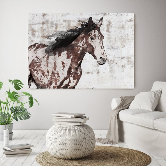 Stallion Horse Painting, Brown Horse Painting, Equine Wall Decor, Equine Wall Art, Giclee Print on Canvas, Art on Canvas