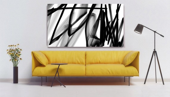 "Industrial Abstract in Black and White 2015-17. Unique Abstract Wall Decor, Large Contemporary Canvas Art Print up to 72"" by Irena Orlov"