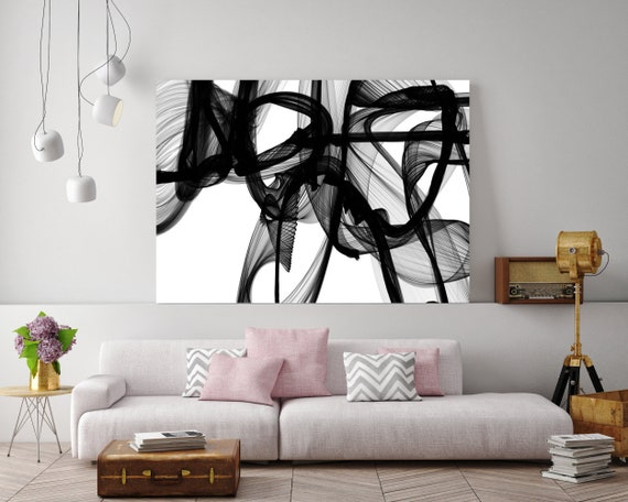 The Invisible World-Movement  Large canvas art Black and White Abstract Painting, Abstract Canvas Print, Large Wall Art