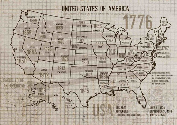 "USA MAP. Canvas Print by Irena Orlov 24"" X 36"", large canvas art print, wall art print, wall decor, fine art print"