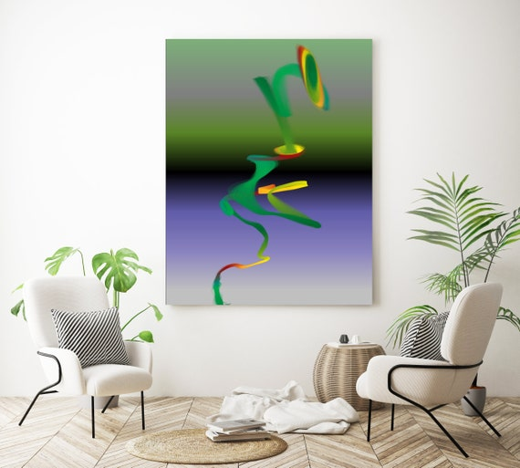 "Storm of Creation 73 Vivid Colors New Media Art Purple Green Abstract Canvas Print, Extra Large Canvas Print up to 90"" by Irena Orlov"