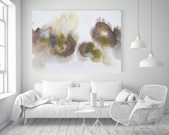 """Olive Green Brown Watercolor abstract splash 3. Watercolor Abstract, Large Abstract Contemporary Canvas Art Print up to 72"""" by Irena Orlov"""
