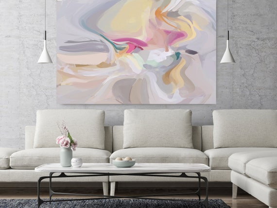 "Seconds, Yellow Gray Abstract painting Original Acrylic Abstract Art on Canvas, Fine Art Canvas Print Size up to 80"" by Irena Orlov"