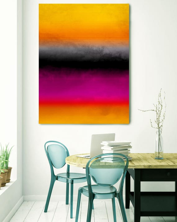 """Inspired by Rothko 73. Ombre, Purple Orange Black Red Watercolor Abstract, Large Abstract Canvas Art Print up to 72"""" by Irena Orlov"""