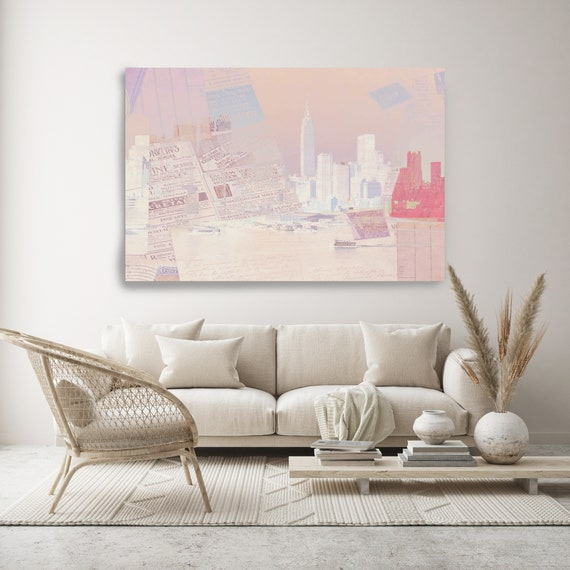 Skyline Of New York City., Cityscape Art, Urban Art, City Wall Art, Urban Wall Art,Large Painting City, Urban Canvas Art Print Pink New York