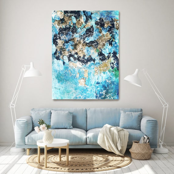 The night-air colors. Abstract Blue Gold Paintings Art, Wall Decor, Extra Large Abstract Blue Canvas Art Print, Blue Gold Wall Decor