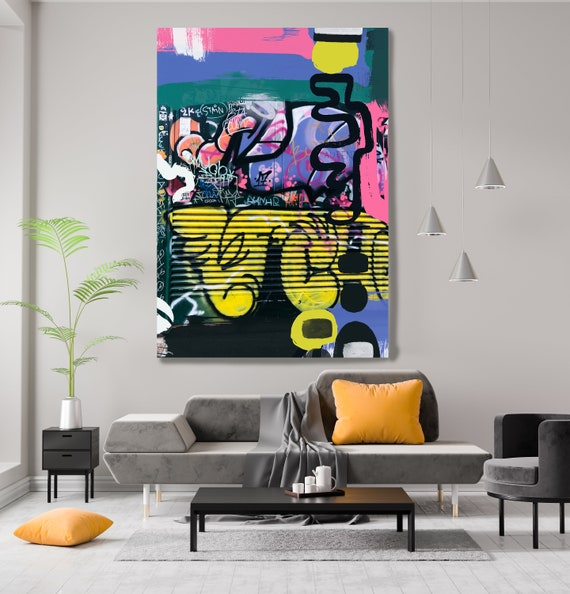 Uncertainty, Street Art, Graffiti Wall Art Green Yellow Street Art Painting Print on Canvas, Large Canvas Print, Urban Canvas Print
