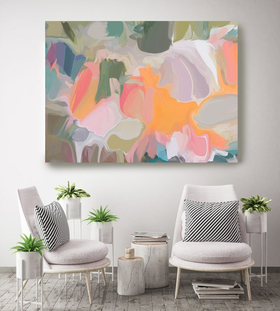 Growing 1-1, Green Pink Orange pastel colors Art, Abstract painting, Colorful painting, modern art, Canvas Art Print, Fluid painting