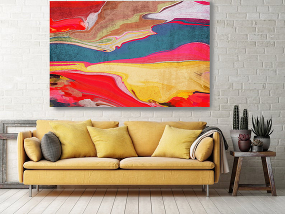 Good Vibes 122, Red Yellow Abstract  Landscape Painting, Abstract Scenic Painting, Landscape Hand Painted extra large canvas print