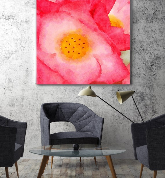 """ORL-10045 Red Flower. Red Watercolor Floral Painting, Red Floral Canvas Art Print, Abstract Floral Canvas Art Print up to 50"""" by Irena Orlov"""