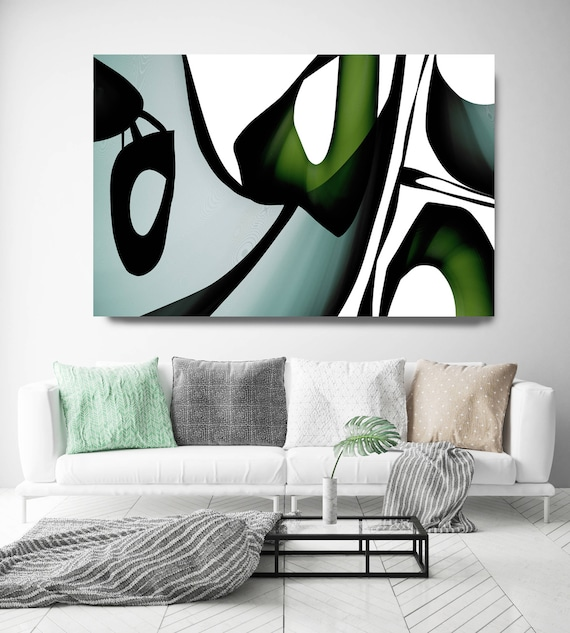 "Mid Century Abstract 12. Mid-Century Modern Green Black Canvas Art Print, Mid Century Modern Canvas Art Print up to 72"" by Irena Orlov"