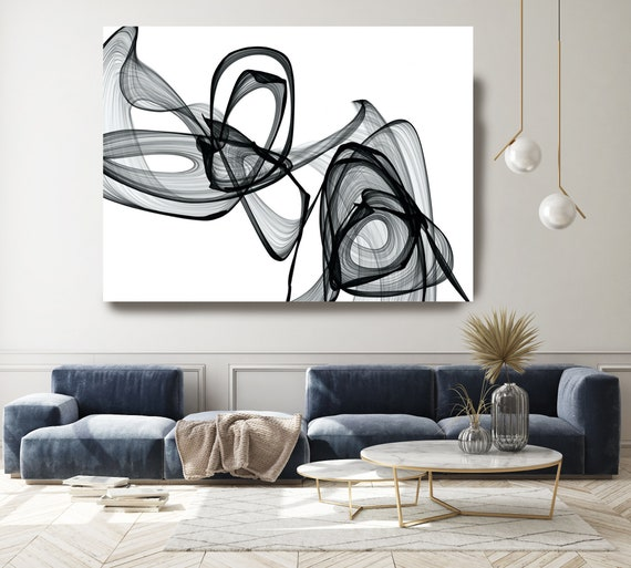 Searching for You 45H x 60W inch, Innovative ORIGINAL New Media Abstract Black And White Painting on Canvas Minimalist Art