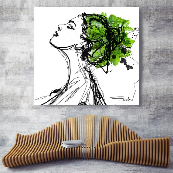 "Beautiful in nature. Figurative Green Contemporary Painting Canvas Print, Extra Large Canvas Art Print up to 48"" by Irena Orlov"