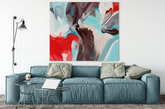 """Deep Inside, Huge Turquoise Red Blue Brown Abstract Modern Canvas Art Print, Wall Art Decor, Canvas Painting Print up to 50"""" by Irena Orlov"""