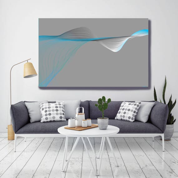 "Air Breeze 2. Abstract New Media Art, Wall Decor, Extra Large Abstract Gray Blue Contemporary Canvas Art Print up to 72"" Irena Orlov"