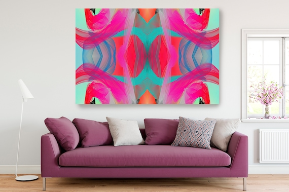 Surrealist Art Neon Colors, New Media Pattern Art, Abstract Painting, Abstract Art, Large Canvas Art 22-51-35 Symmetrical ., Office Decor
