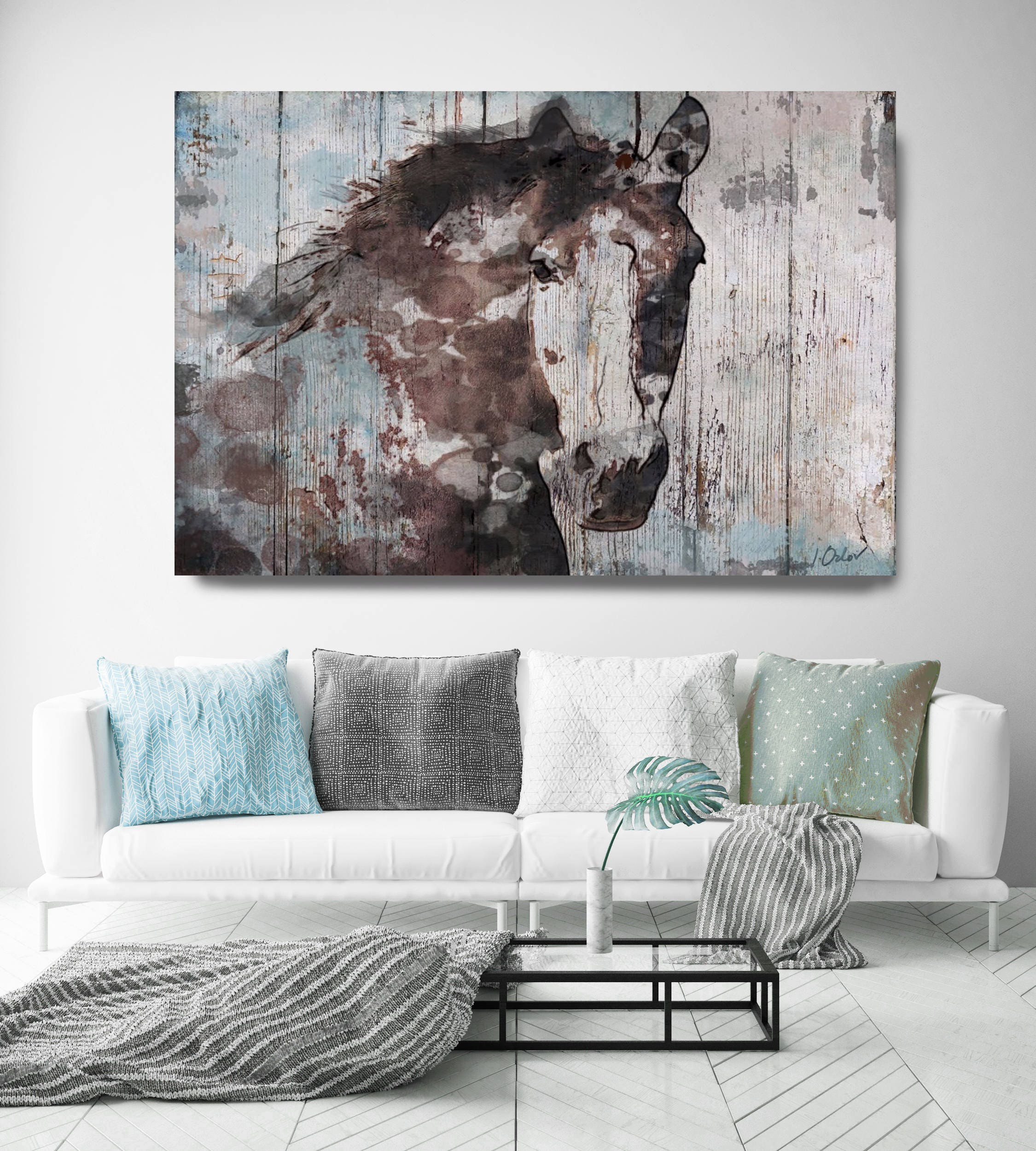 Wild blue horse extra large horse unique horse wall decor brown rustic horse large rustic canvas art print up to 72 by irena orlov