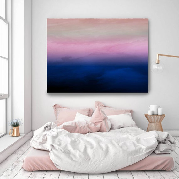 Abstract Minimalist Rothko Inspired 1-2-4. Abstract Painting Giclee of Original Wall Art, Purple Pink Black Large Canvas Art Print up to 72""