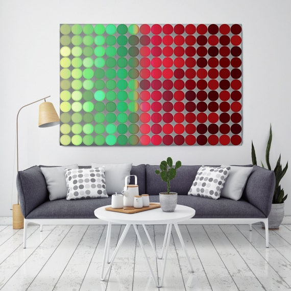 """ORL-9160 Colorful Geometric Shapes 110. Large Abstract Geometrical Canvas Art, Red Green Industrial Abstract Wall Art Print up to 72"""""""
