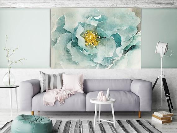 Aqua Green Dream. Floral Painting, Aqua Floral Art, Teal Watercolor Painting Canvas Print Still Life Watercolor Art Teal Wall Decor