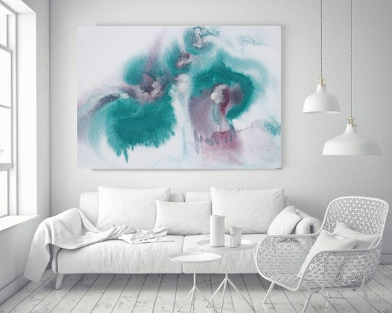 "Turquoise Brown Watercolor abstract splash 1. Watercolor Green Pink Watercolor Painting Print Canvas Art Print up to 72"" by Irena Orlov"