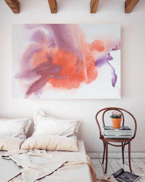 "Watercolor Coastal Abstract 95. Watercolor Abstract Red Purple, Watercolor Canvas Art Print up to 72"" by Irena Orlov"