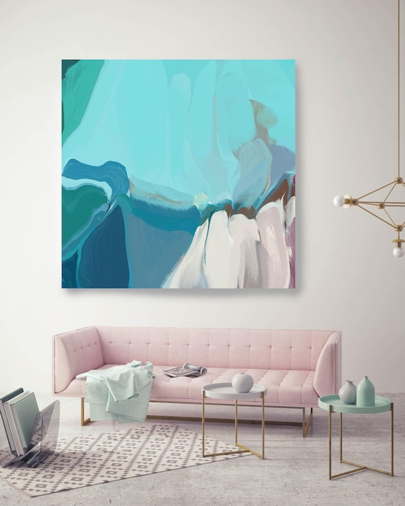 """Atmospheric oxygen. ORIGINAL LARGE Abstract Painting, Contemporary Abstract Blue White Trend Color Oil Painting up to 50"""" by Irena Orlov"""