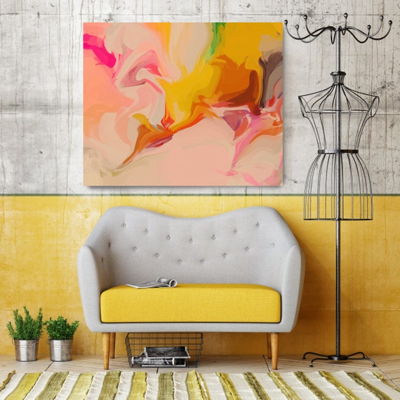 Orange petals, Abstract Painting Extra Large Abstract Hand Painted Acrylic Painting Pink Yellow Contemporary Canvas Print
