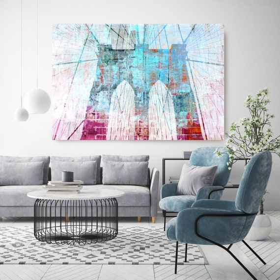 Brooklyn Bridge in Blue and Red, Cityscape Art, Urban Art, City Wall Art, Blue Red Brooklyn Bridge New York Wall Art Canvas Art Print