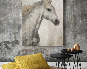 """Silver Horse. Extra Large Horse, Unique Horse Wall Decor, Gray Rustic Horse, Large Contemporary Canvas Art Print up to 72"""" by Irena Orlov"""