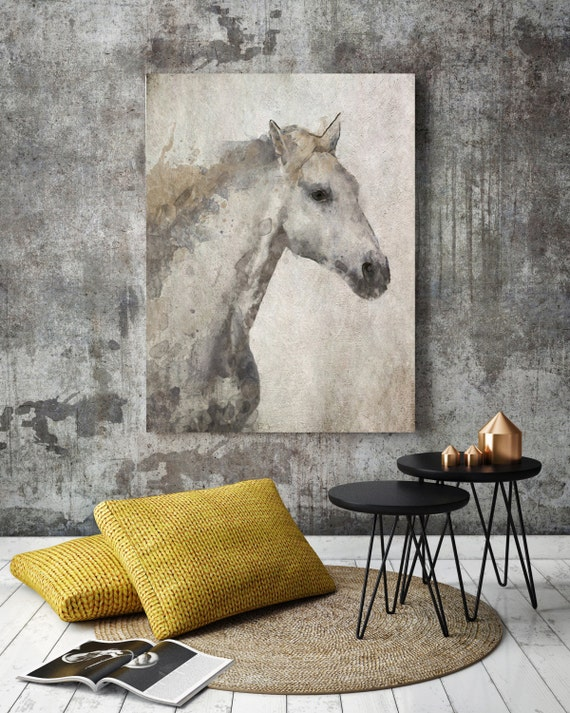 "Silver Horse. Extra Large Horse, Unique Horse Wall Decor, Gray Rustic Horse, Large Contemporary Canvas Art Print up to 84"" by Irena Orlov"