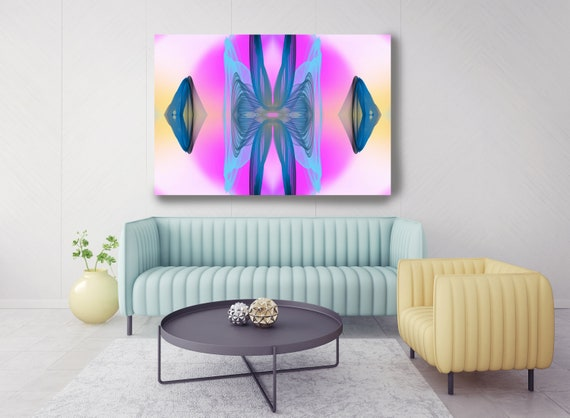 Surrealist Art, New Media Pattern Art, Abstract Painting, Purple Abstract Art, Large Canvas Art Symmetrical pattern1, Office Decor