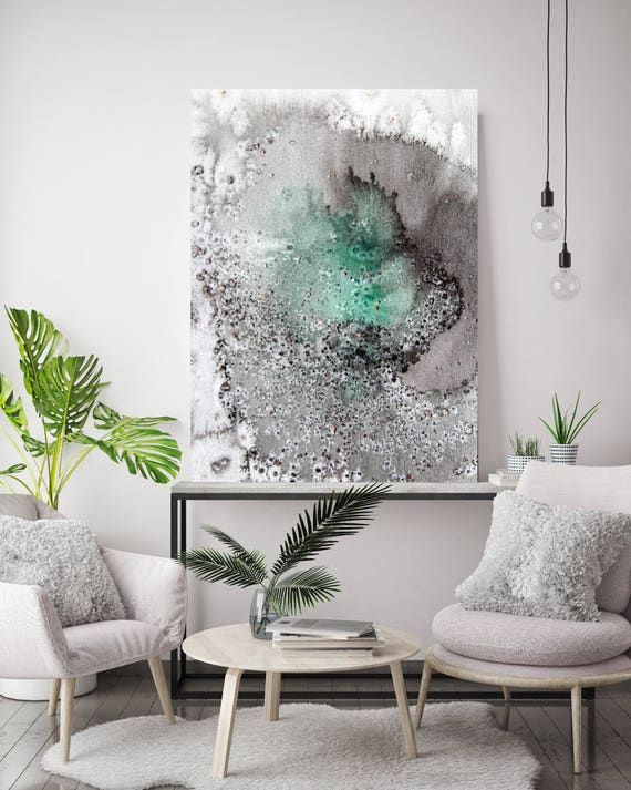 """Coastal Watercolor Abstract 37. Contemporary Abstract Green  Black Canvas Art Print, Extra Large Canvas Art Print up to 72"""" by Irena Orlov"""
