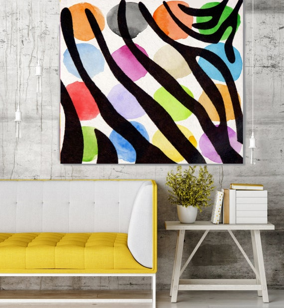 "Colorful Zebra II. Geometrical Abstract Art, Wall Decor Extra Large Abstract Colorful Contemporary Canvas Art Print up to 48"" by Irena Orlov"