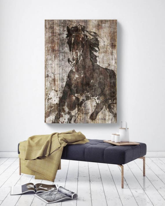 "Horse Painting Print NBA Running Horse. Large Horse, Unique Horse Wall Decor, Brown Rustic Horse Canvas Print, up to 72"" by Irena Orlov"