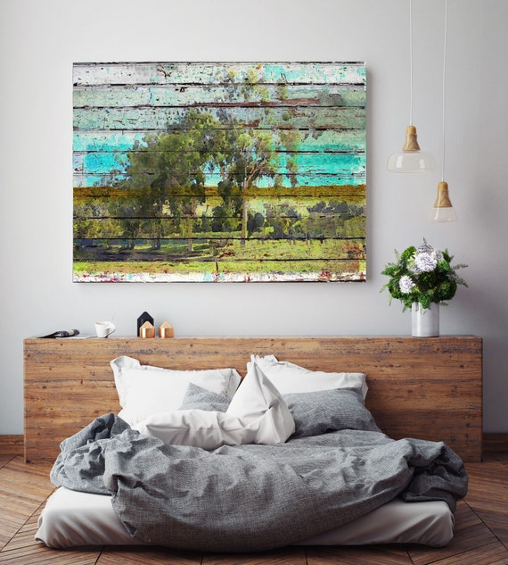 "Huge Rustic Landscape Painting Canvas Art Print, Extra Large Green Blue Canvas Art Print up to 80"" by Irena Orlov"