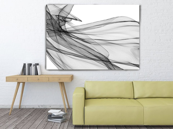 "Movement, Abstract Black and White 20-06-31. Unique Abstract Wall Decor, Large Contemporary Canvas Art Print up to 72"" by Irena Orlov"