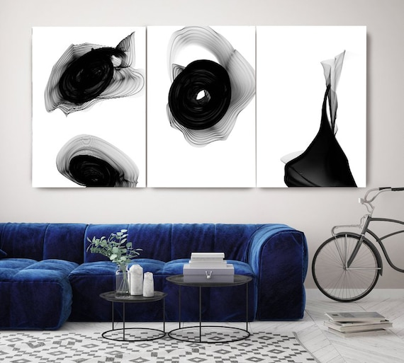 Black and White Contemporary Minimalist TRIPTYCH canvas art prints-3 panels Stretched Canvas Art Canvas Art Print, Abstract Black Wall Decor
